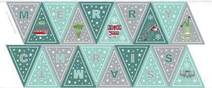 Lewis & Irene - Christmas Glow - 6715 -  Bunting Panel, Teal & Aqua - C52.1 - Cotton Fabric